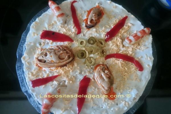 Tarta de ensaladilla de marisco